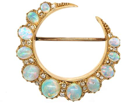 victorian ct gold opal diamond crescent brooch