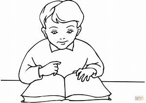 School Boy Reading a Book coloring page | Free Printable ...