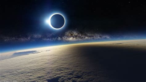 wallpaper eclipse  sun  planet atmosphere