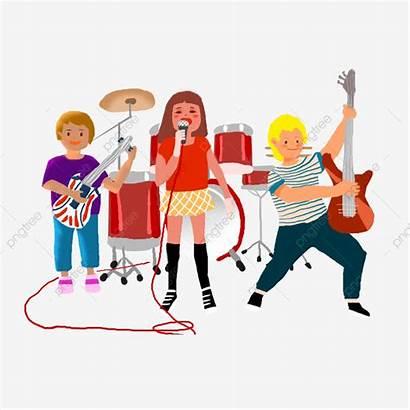 Band Cartoon Singing Clipart Singer Elements Banda