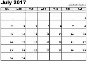 July 2017 Calendar Printable Template PDF Holidays ...