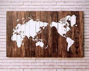 Carte Du Monde Bois : carte du monde en bois monde deco bois bois et carte du monde ~ Nature-et-papiers.com Idées de Décoration