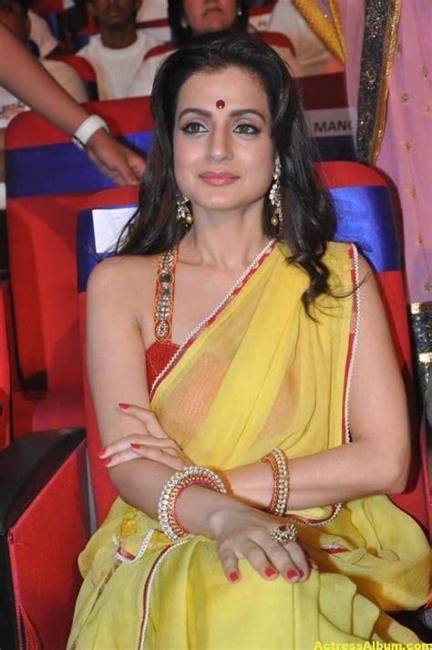 amisha patel hot stills  yellow saree actress album