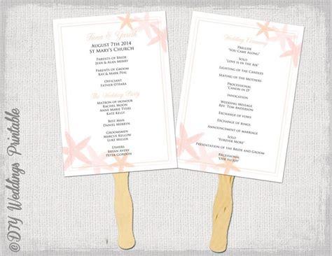 diy wedding program fans template fan program template quot starfish quot coral diy wedding order of