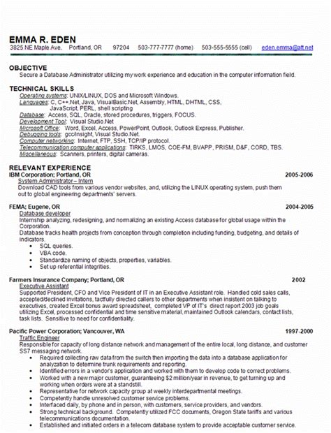 skill based resume sle database administrator