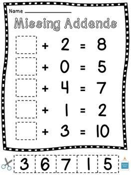 Missing Addends Cut Sort Paste Worksheets By Miss Giraffe Tpt