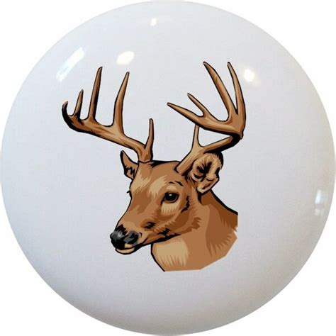 Deer Cabinets by Deer Buck Cabinet Dresser Drawer Pull Ceramic Ebay