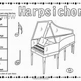 Harpsichord Coloring Keyboard Instruments Template sketch template
