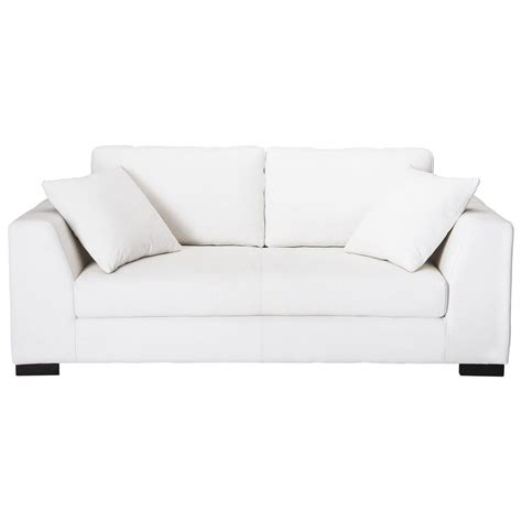 canape cuir blanc canapé 2 3 places en cuir blanc terence maisons du monde