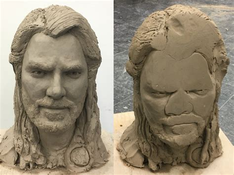 before after clay thor bust gets dropped face down