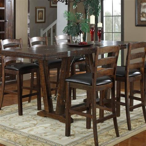 bar height dining room tables emerald home castlegate 42 in bar height trestle table modern dining tables by hayneedle