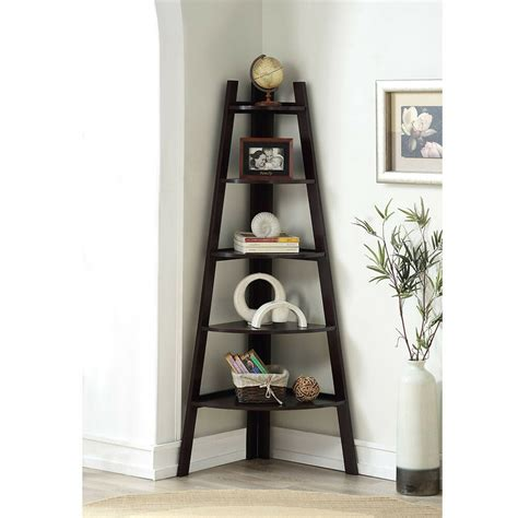 stylish wooden corner rack wall display  shelves bookcase