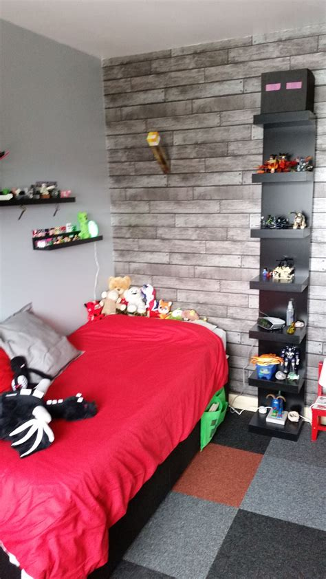 minecraft bedroom  ikea furniture  black red