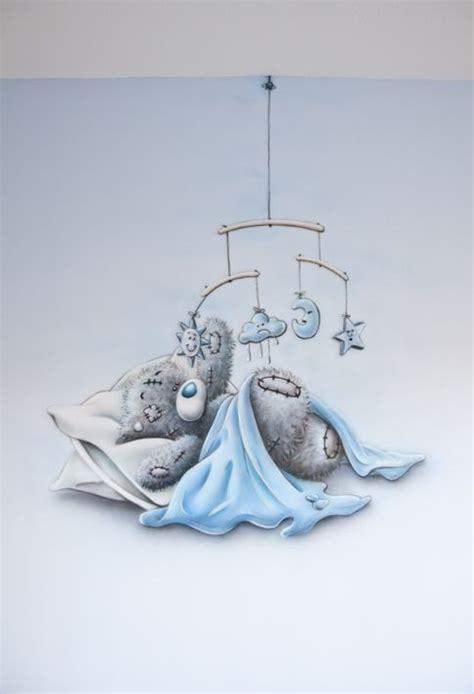 muurschildering babykamer airbrush babykamer muurschildering me to you beertje blauw met