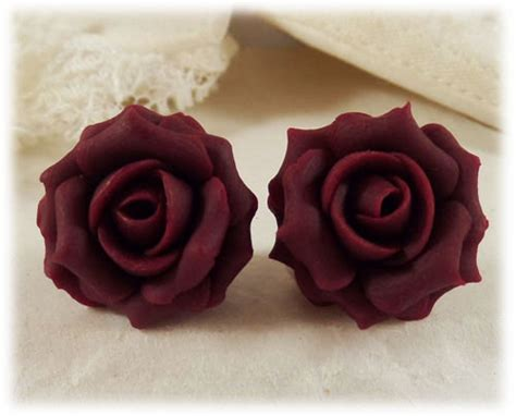 garnet red rose stud earrings clip  earrings