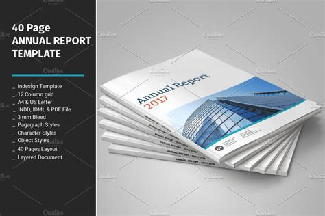 page annual report template brochure templates