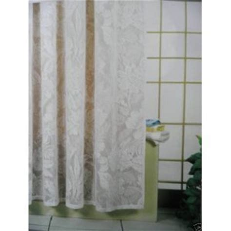 beautiful lace waterproof shower curtain cream or white
