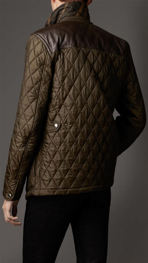 burberry leather panel quilted jacket  dark olive green  men lyst