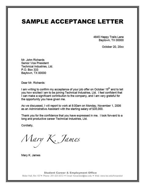 accept offer letter 40 professional job offer acceptance letter email