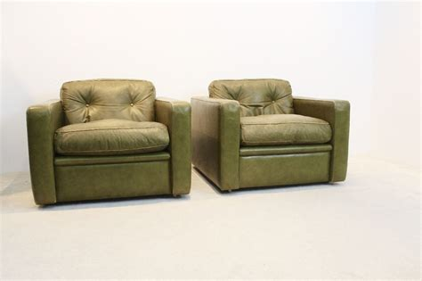 Vintage Seating Group By Poltrona Frau In Olive Green