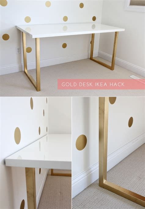white desk with gold legs 15 super chic ikea hacks white table top white desks