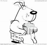 Dog Coloring Popcorn Theater Eating Cartoon 3d Watching Happy Clipart Thoman Cory Outlined Vector Printable Getcolorings Ice Cream Clipartof sketch template