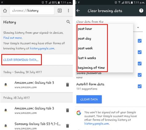 clear browser history android how to delete browsing history on android