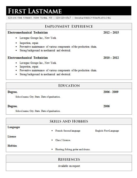 simply classic resume template 617 free cv template