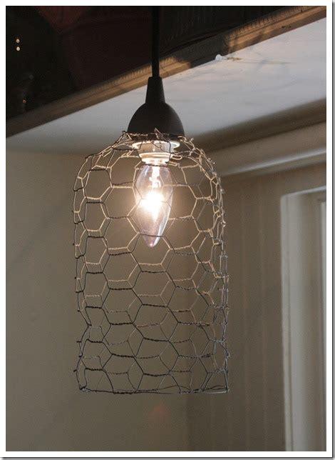 diy chicken wire  quick  simple light pendent