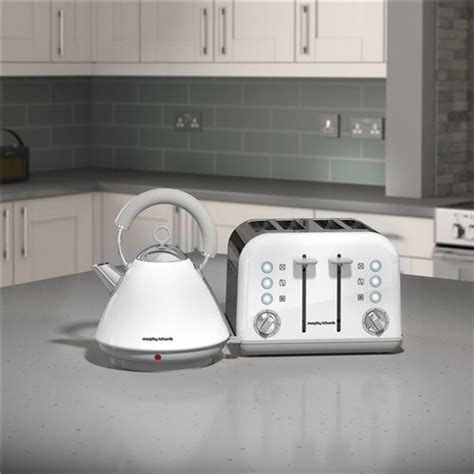 morphy richards kettle and toaster set morphy richards white accents pyramid kettle 4 slice