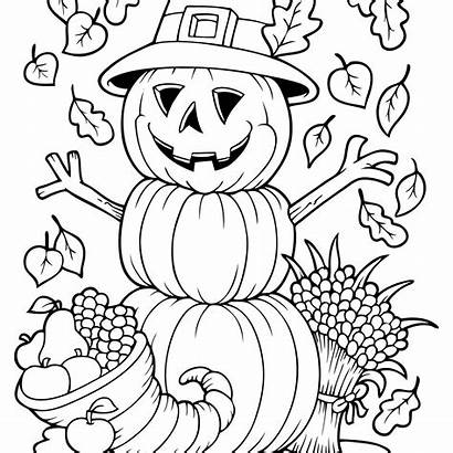 Coloring Fall Pages Autumn Pumpkin Scarecrow