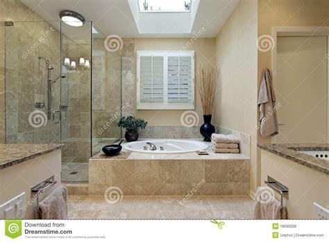 Luxury Master Bath With Skylight Stock Photo   Image of