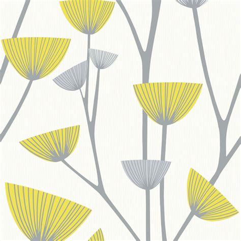 schoner wohnen dandelion grey white yellow wallpaper