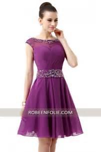 robe de mariage courte robeenfolie robe courte pour mariage en crêpe violet décolleté transparent avec broderies et