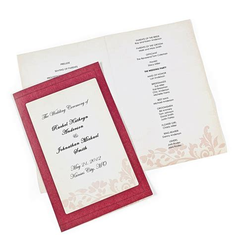 50 red damask wedding programs invitations do it yourself