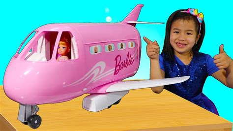 Jannie Pretend Play With Barbie Toy Plane  Youtube