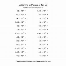 Powers Of Ten Worksheet  Whole Numbers Multiplied By All Positive Powers Of Ten (a) Math