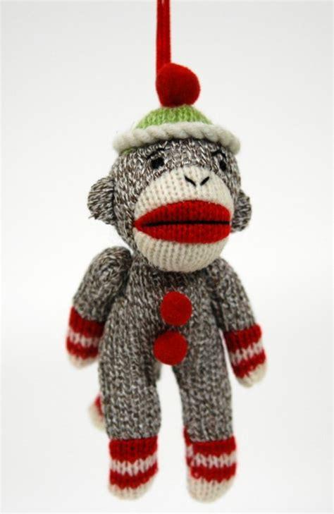 sock monkey ornament red plush classic retro style toy