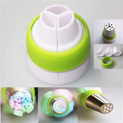 How To Use Cake Decorating Tips by 3 Color Icing Piping Bag Russian Nozzle Converter Coupler