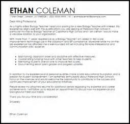 Biology Teacher Cover Letter Sample Livecareer