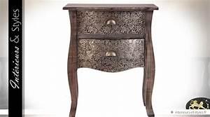 Table De Chevet Metal : table de chevet bois et m tal style marocain 2 tiroirs ~ Melissatoandfro.com Idées de Décoration