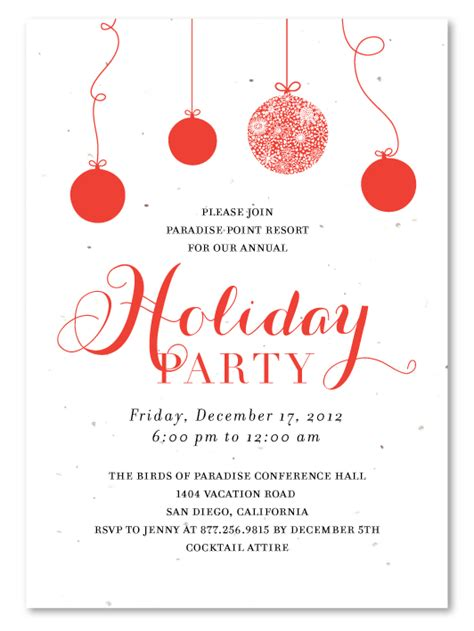 business party invitations holiday cheers plantable