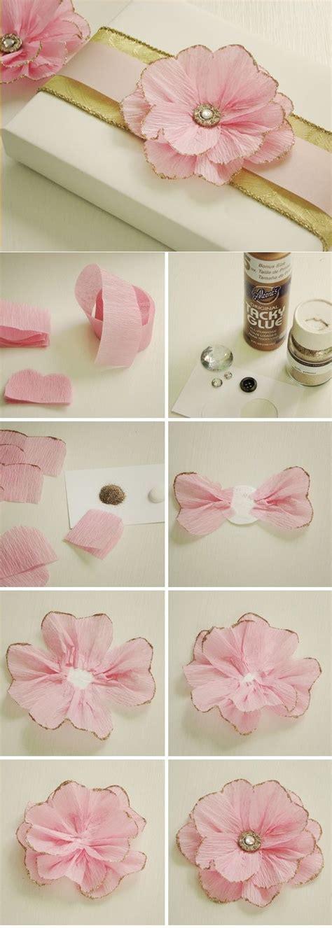 glitzer basteln ideen blumen muttertag ideen dekoration geschenk krepppapier rosa glitzer selfmade presents