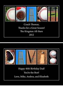 personalized wood plaque baseball letter art up to 4 lines With baseball letter art