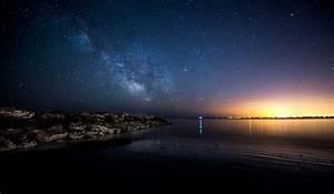 City Lights Milky Way Night Sky - WallDevil