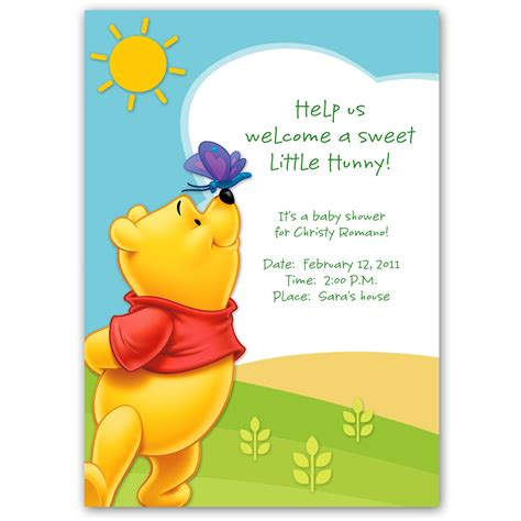 winnie  pooh baby shower invitation template