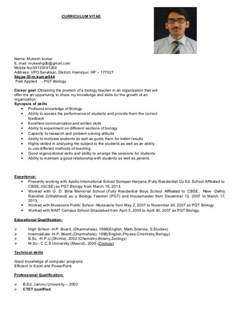 resume format for msc zoology resume templates