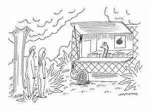 Adam And Eve Encounter An Apple Food-truck by Mick Stevens