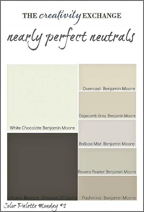 neutral paint color palette home nearly neutrals color palette monday 2