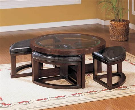 glass coffee table with chairs underneath coffee table with ottomans underneath decofurnish